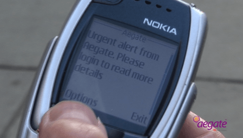 Aegate example text message on Nokia phone