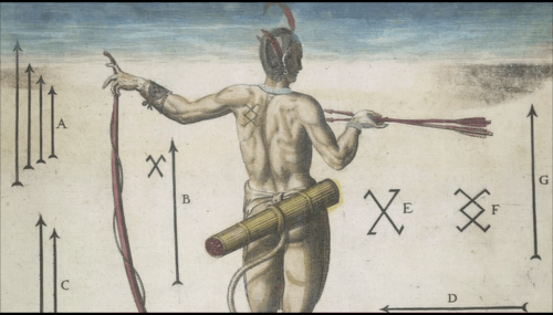 British Library example 7, nude man with arrows